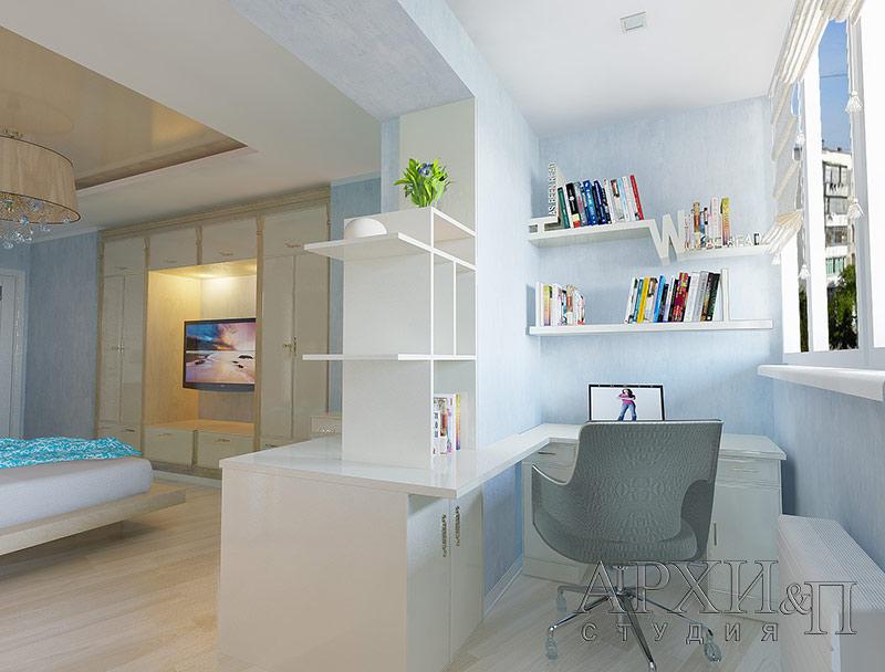 Дизайн комнаты для девушки соедененной с балконом..